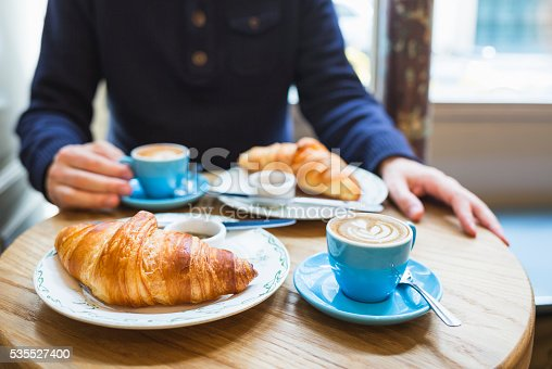 Coffee and croissant. French breakfast for two (Paris, France)