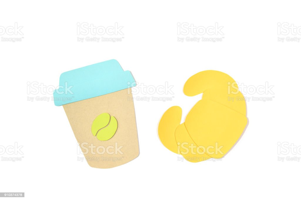 Coffee and croissant paper cut on white background stock photo