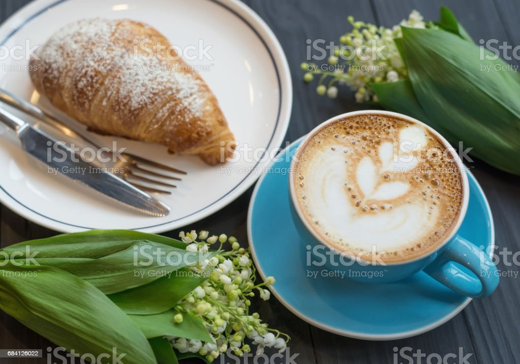 Coffee and croissant the rustic background. Concept and idea zbiór zdjęć royalty-free