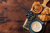istock Coffee and croissants breakfast 1130418878
