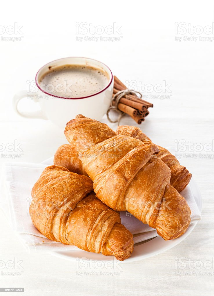 Coffee and Croissants royalty-free stock photo