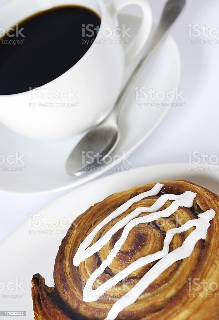 coffee and danish pastry royalty-free stock photo