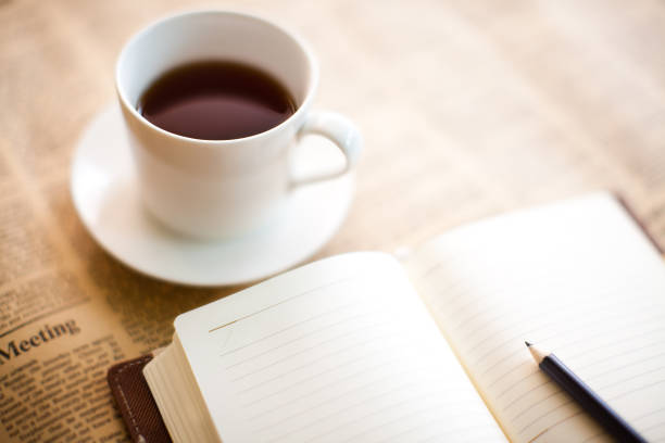 Coffee and Diary stock photo