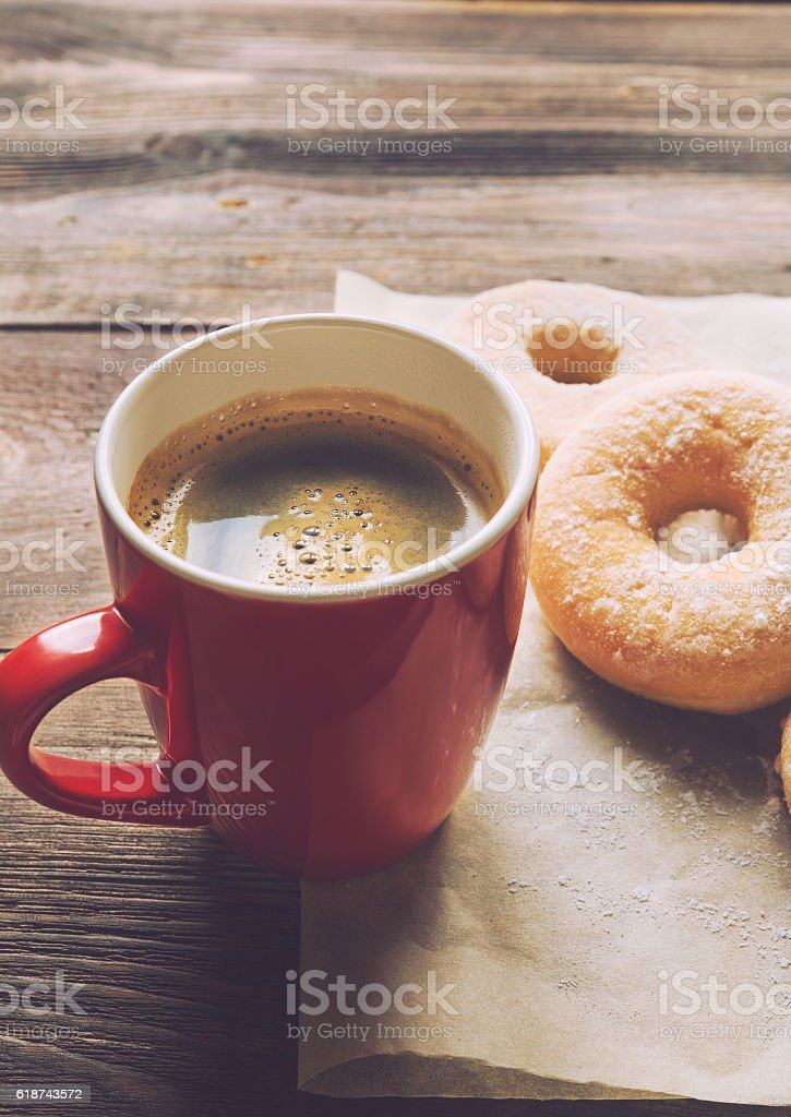 Coffee and donuts stock photo
