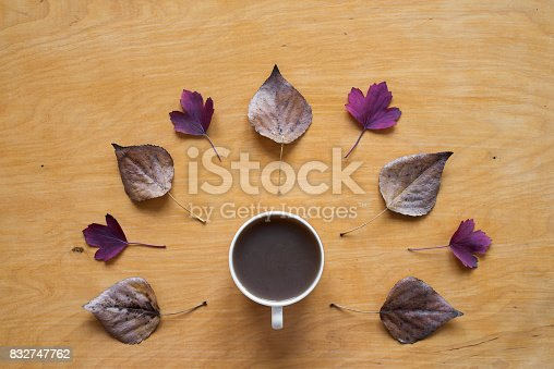 1169941952 istock photo Coffee and dried and red autumn leaves 832747762