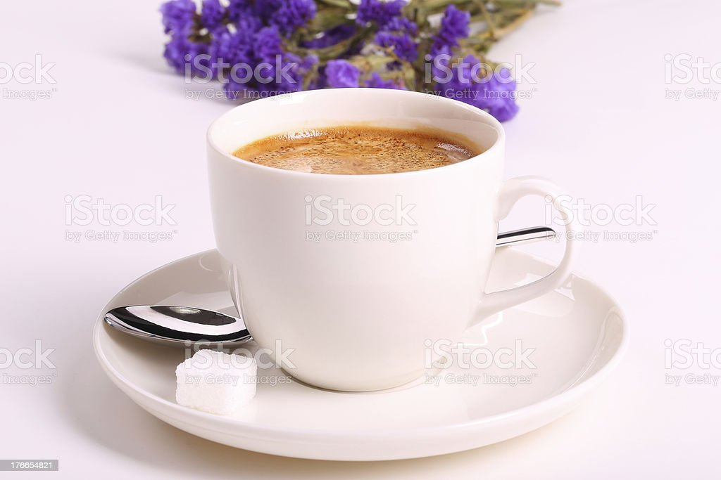 Coffee and flowers royalty-free stock photo
