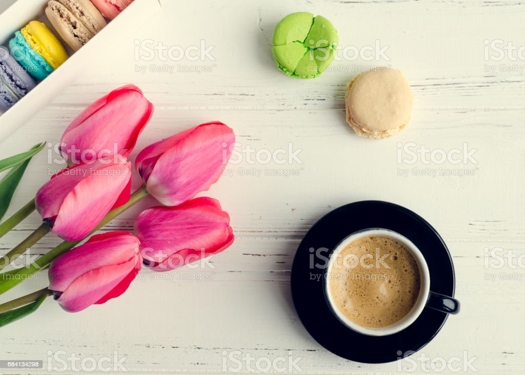 Coffee and flowers Tulips foto stock royalty-free