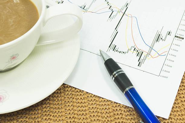 Kaffee und Geldwechsel Diagramm, entspannen Sie auf der Arbeit – Foto