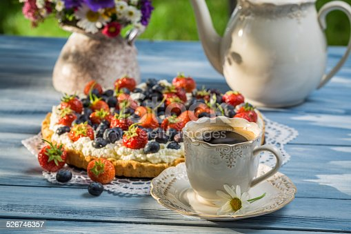 502634476 istock photo Coffee and fruit tarts served in the garden 526746357