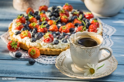 502634476 istock photo Coffee and fruit tarts served in the garden 526766545