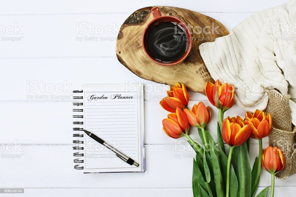 Coffee and Garden Journal stock photo