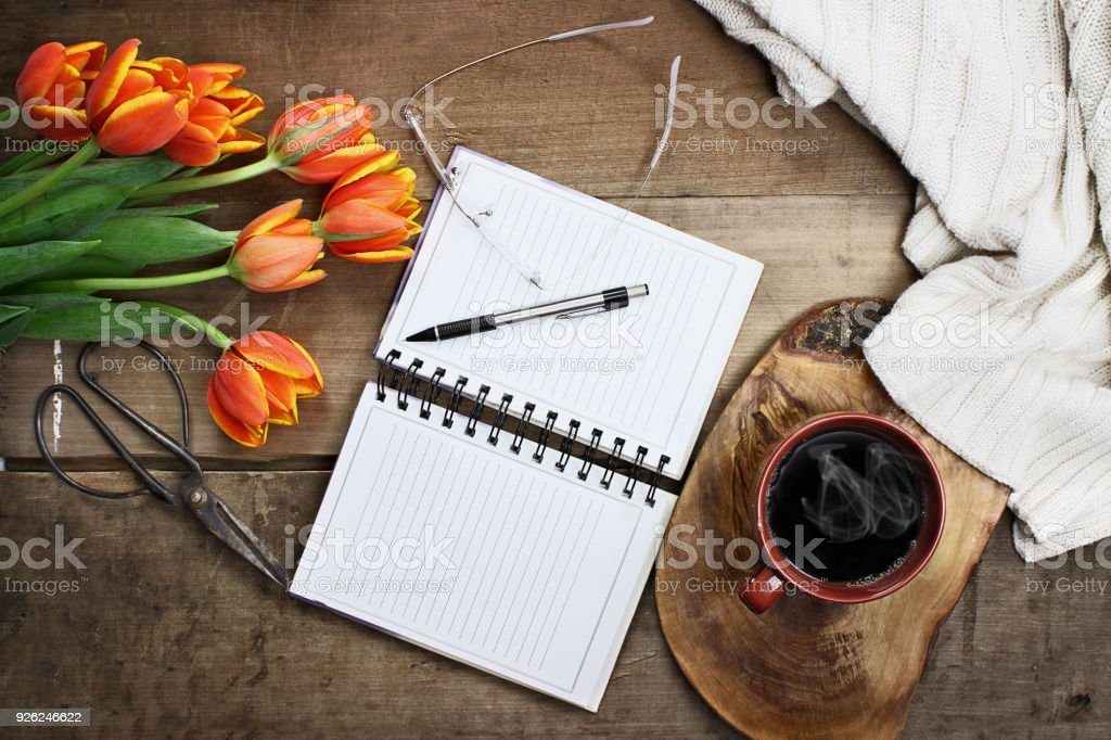 Coffee and Journal stock photo