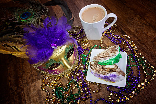 Coffee and King Cake stock photo