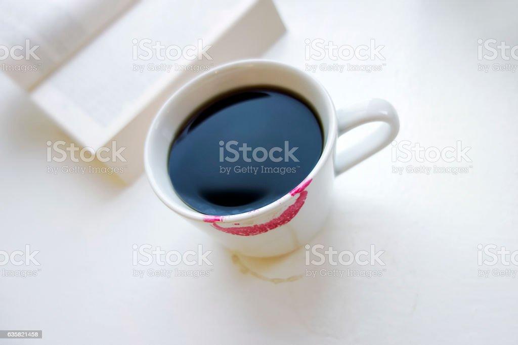 Coffee and lipstick stock photo
