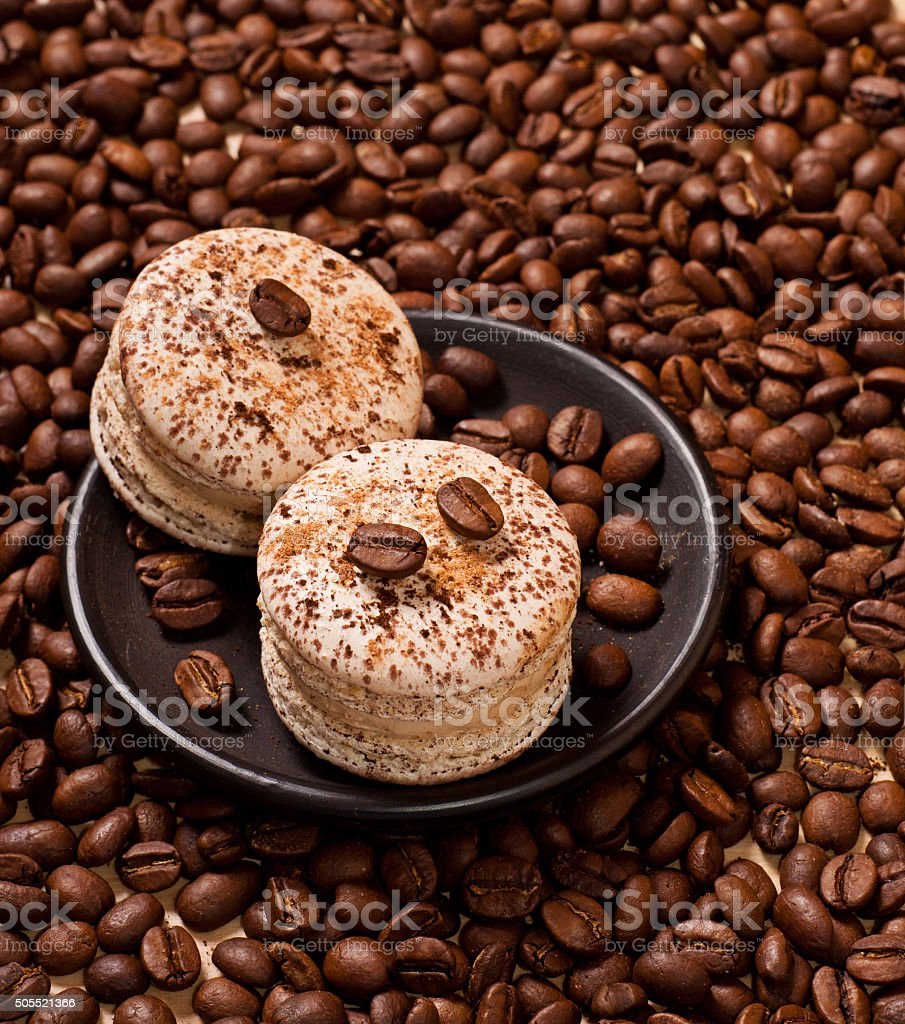 coffee and macaroons stock photo