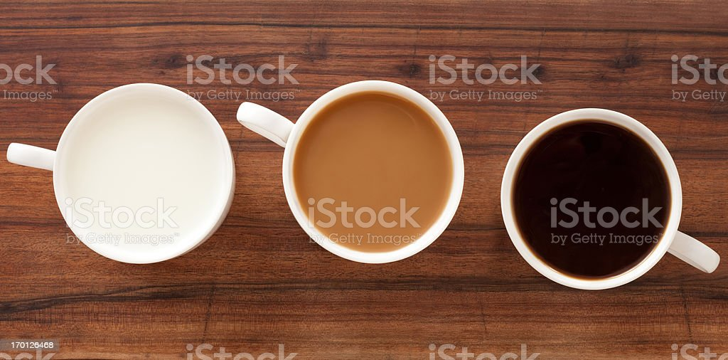 Coffee and milk cups royalty-free stock photo