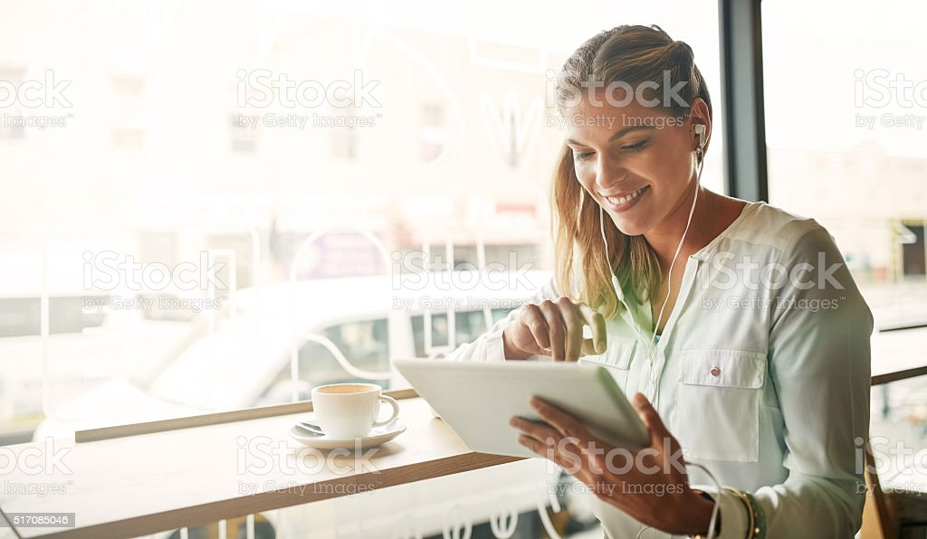 Coffee and music...it's the perfect combination stock photo