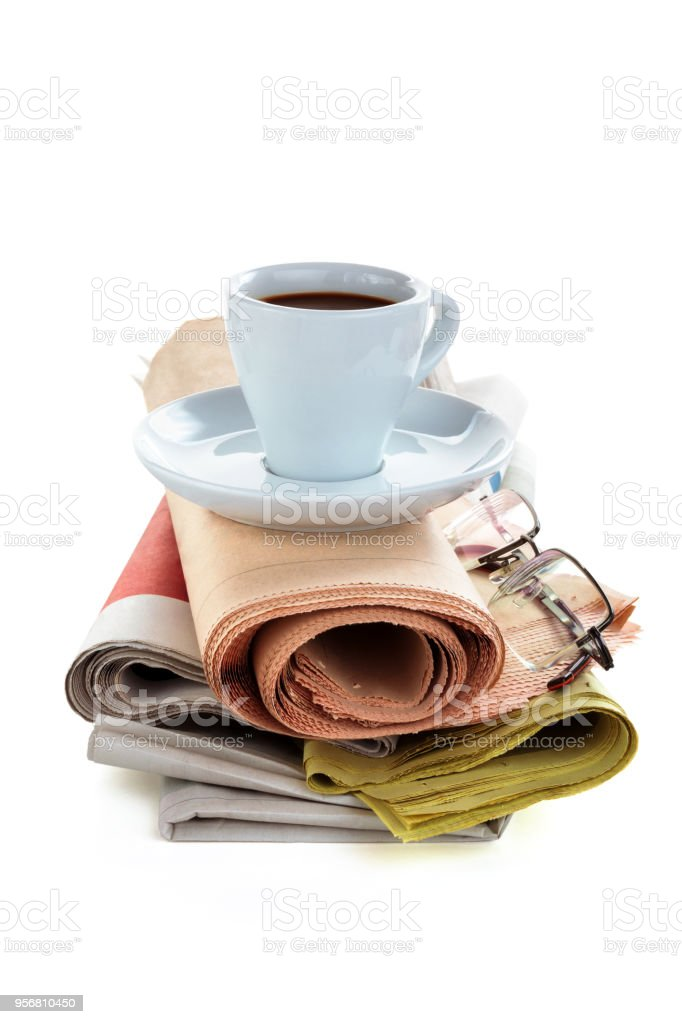 Coffee and newspaper. stock photo