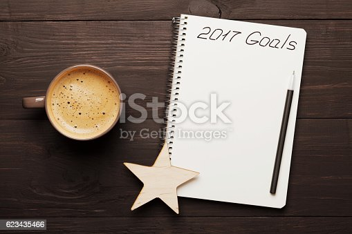 istock Coffee and notebook with goals for 2017. Planning and motivation. 623435466