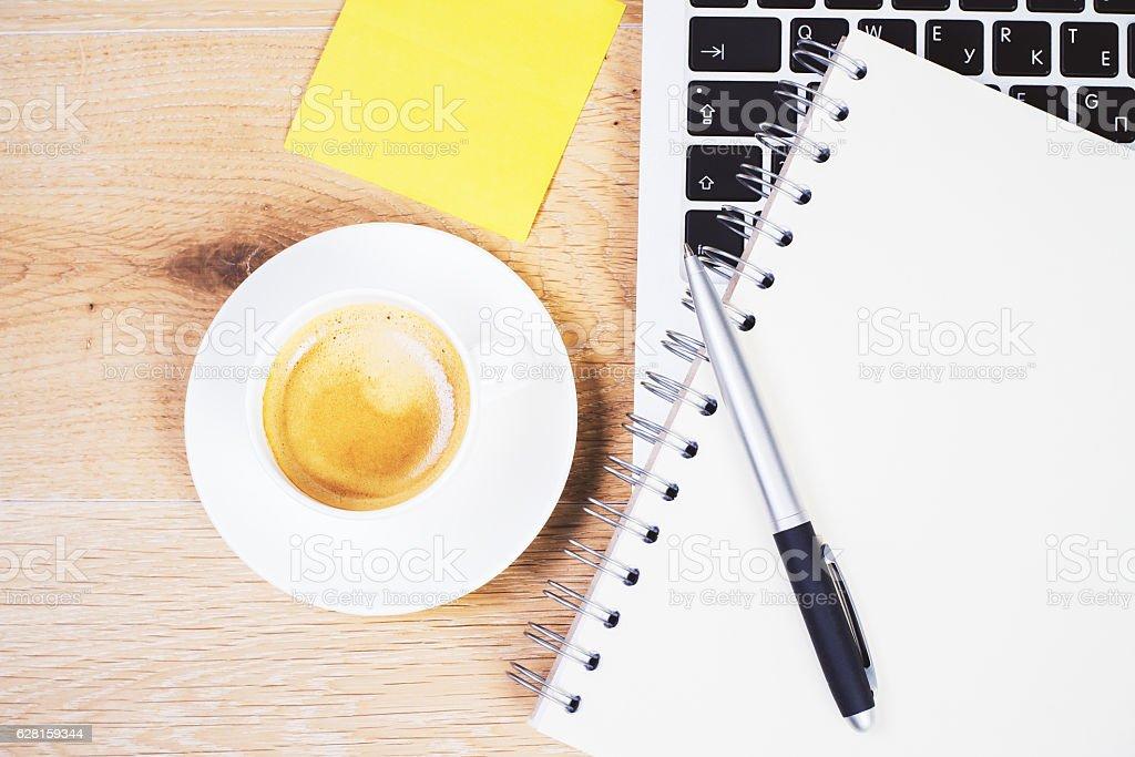 Coffee and notpad closeup stock photo