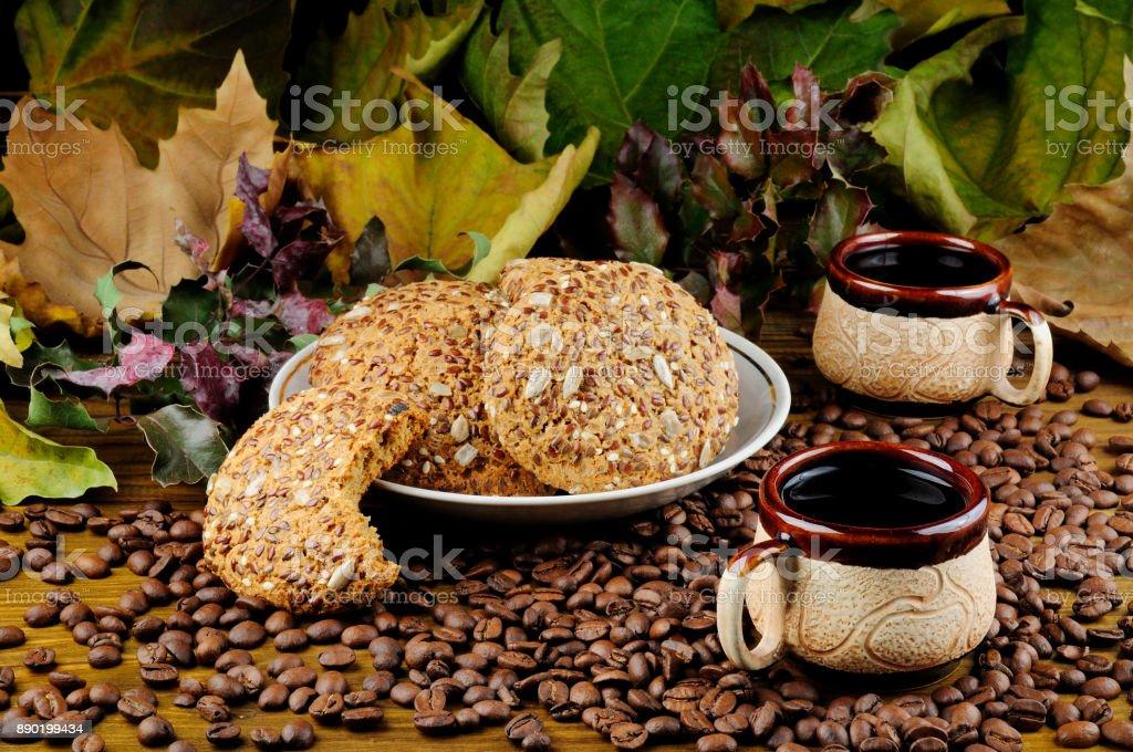 Coffee and Oatmeal Cookies stock photo