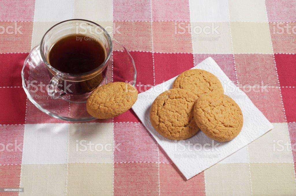 Coffee and oatmeal cookies zbiór zdjęć royalty-free