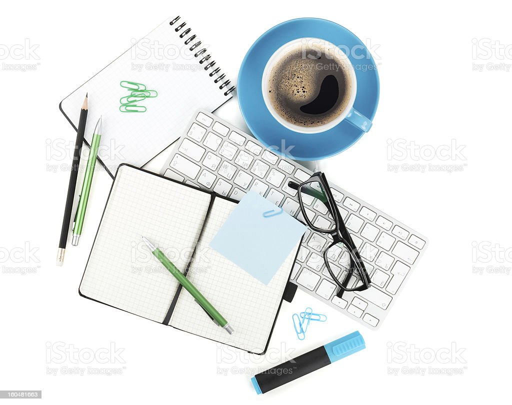 Coffee and office supplies royalty-free stock photo