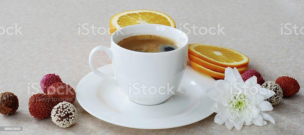 Coffee and orange royalty-free stock photo