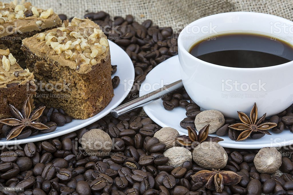 Coffee and pastries continental breakfast buffet table setting royalty-free stock photo