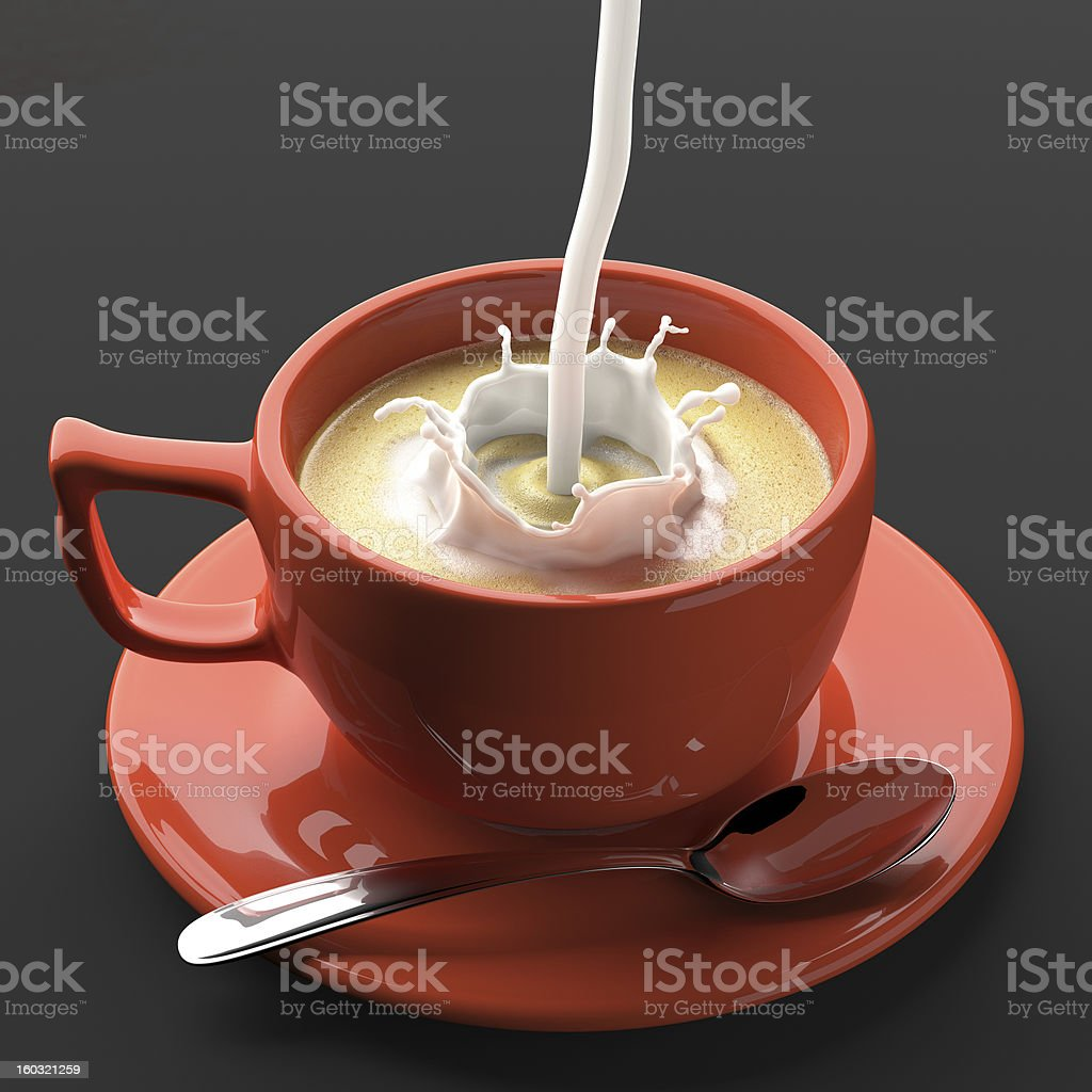 Coffee and pouring Milk royalty-free stock photo