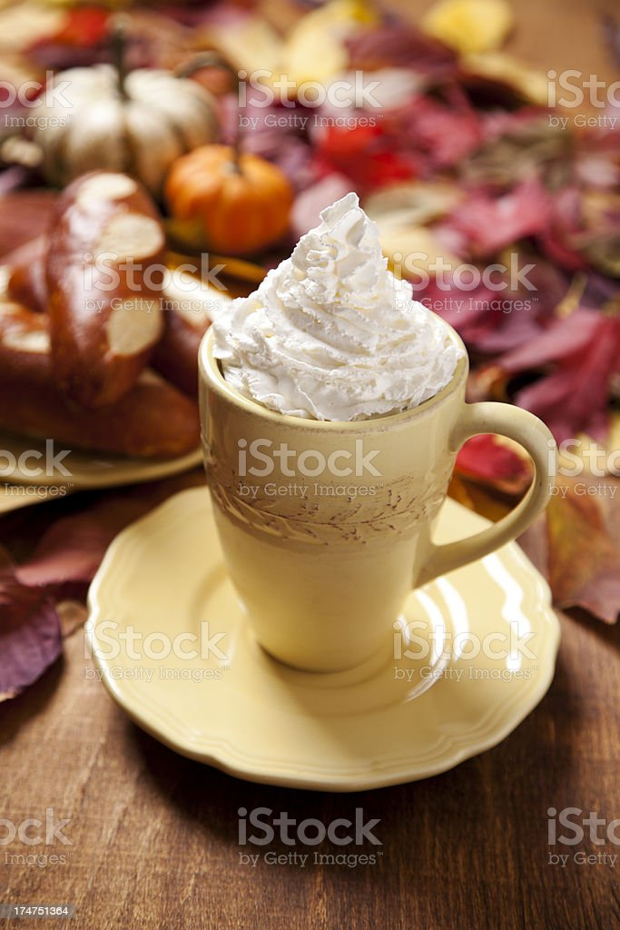Coffee and pumpkin bread royalty-free stock photo