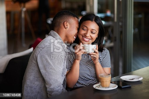 Shot of an affectionate young couple having coffee on a date in a cafe