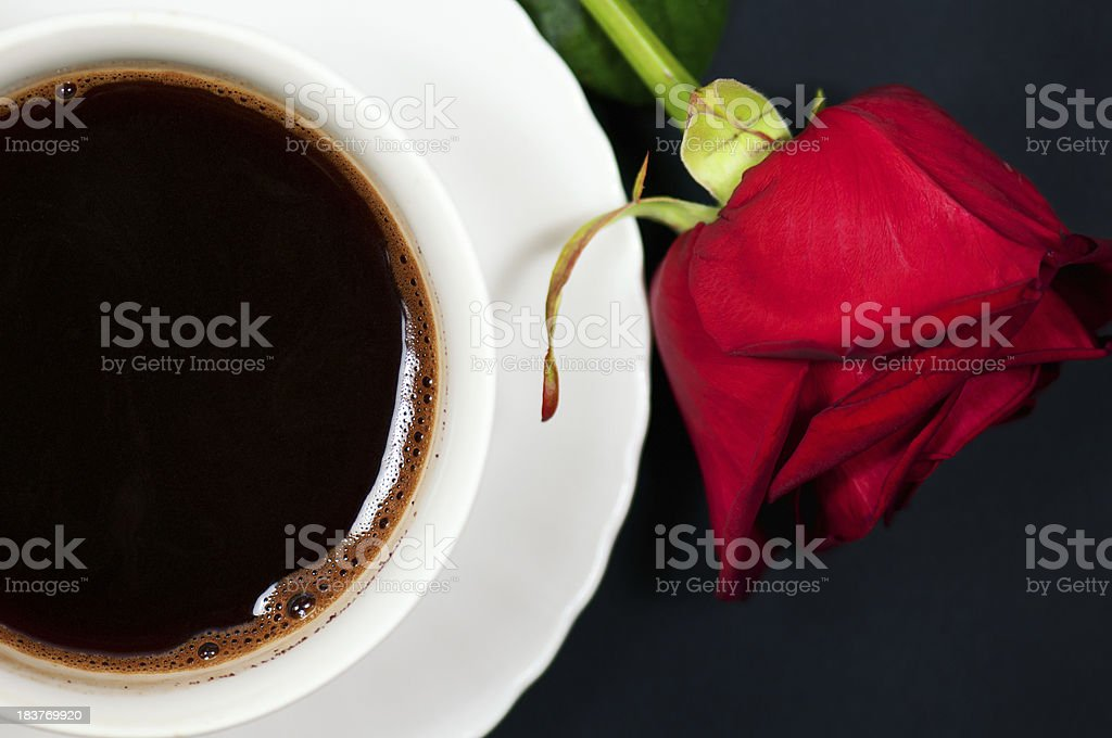 coffee and rose stock photo
