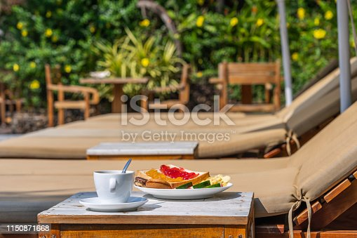 Coffee and sandwiches for breakfast at the resort