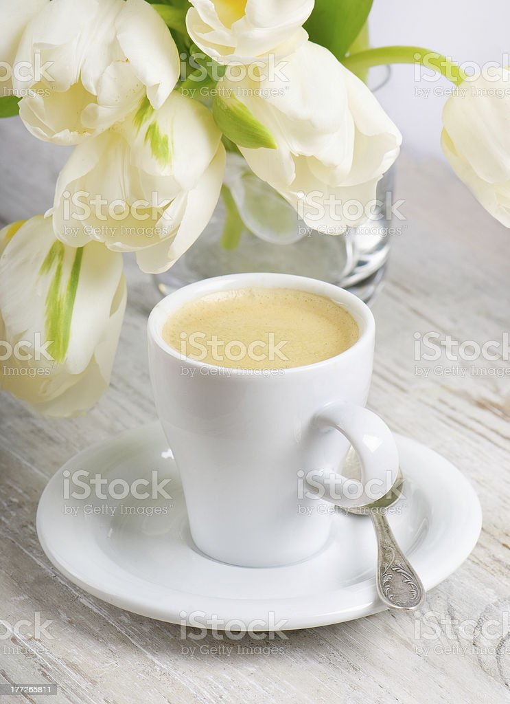 Coffee and spring flowers royalty-free stock photo