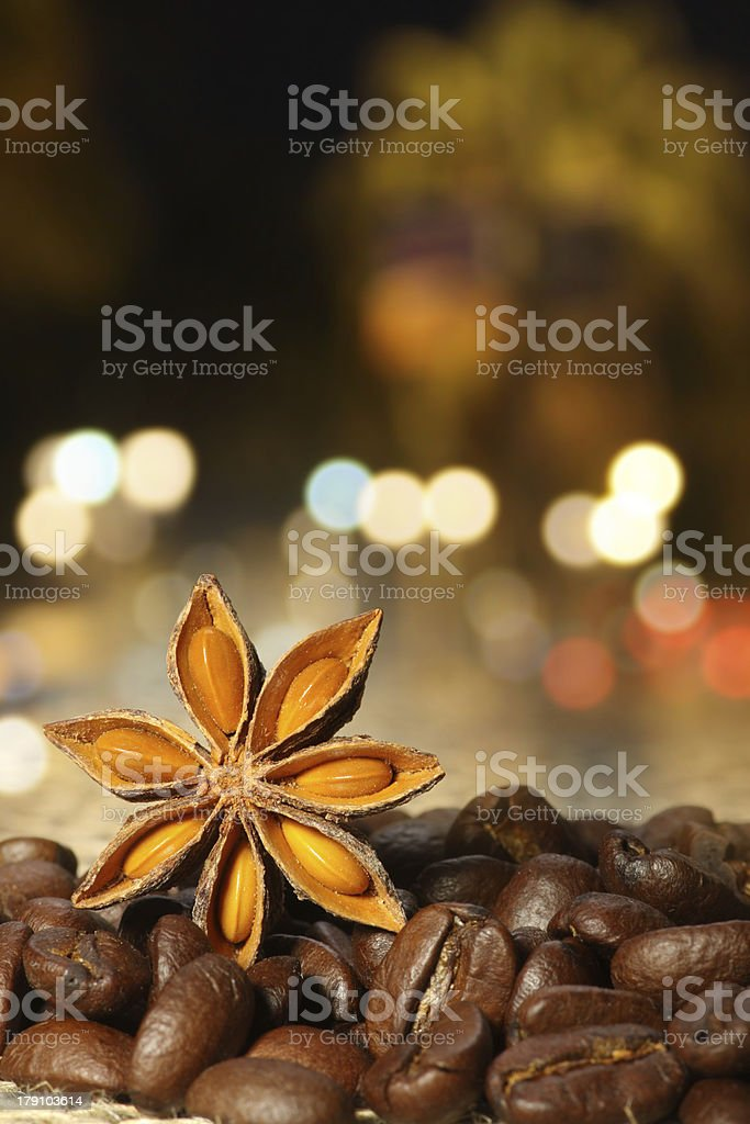 Coffee and Star Anise on sackcloth royalty-free stock photo