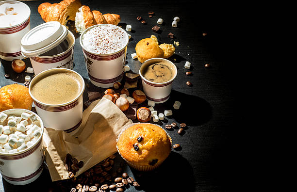 coffee and sweets stock photo