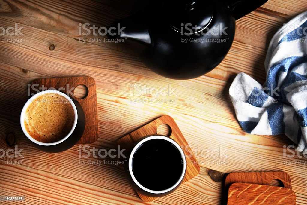 Coffee and tea time in my kitchen stock photo