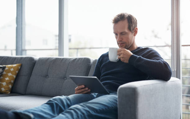 Coffee and technology go hand in hand stock photo