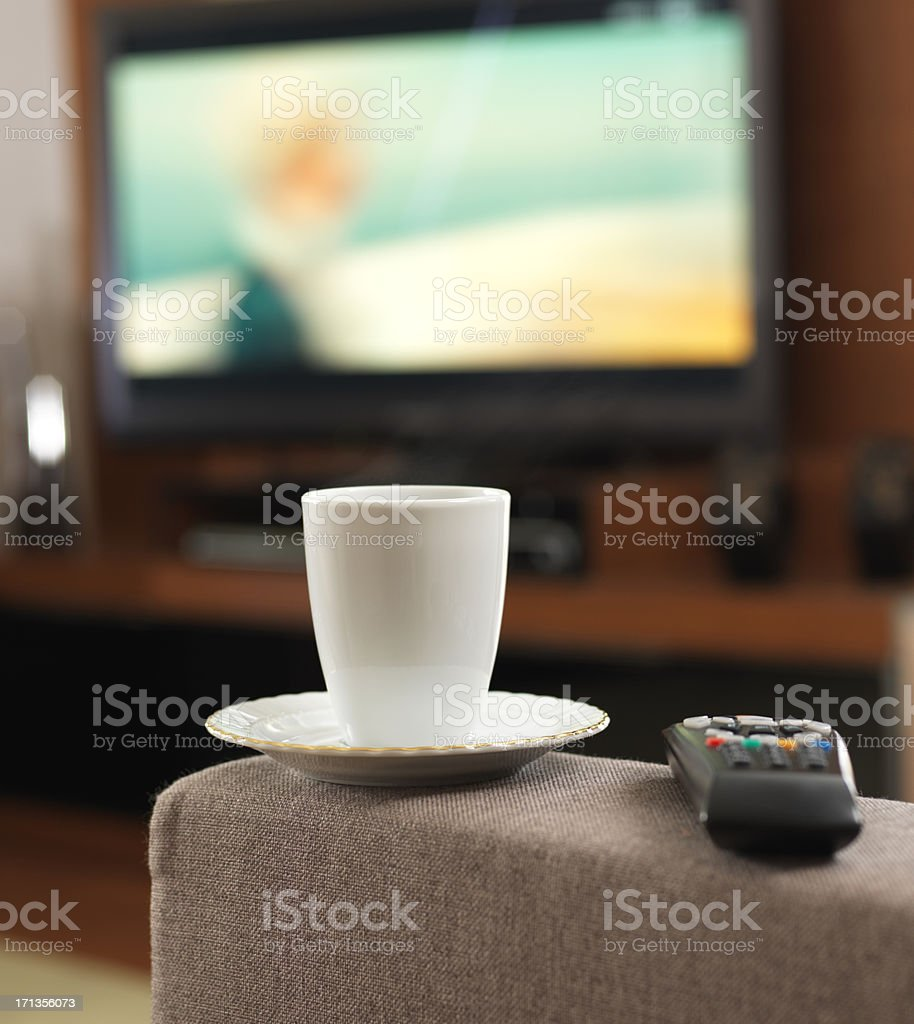 Coffee and Television stock photo