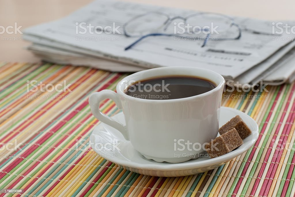 Coffee and the Morning Paper royalty-free stock photo