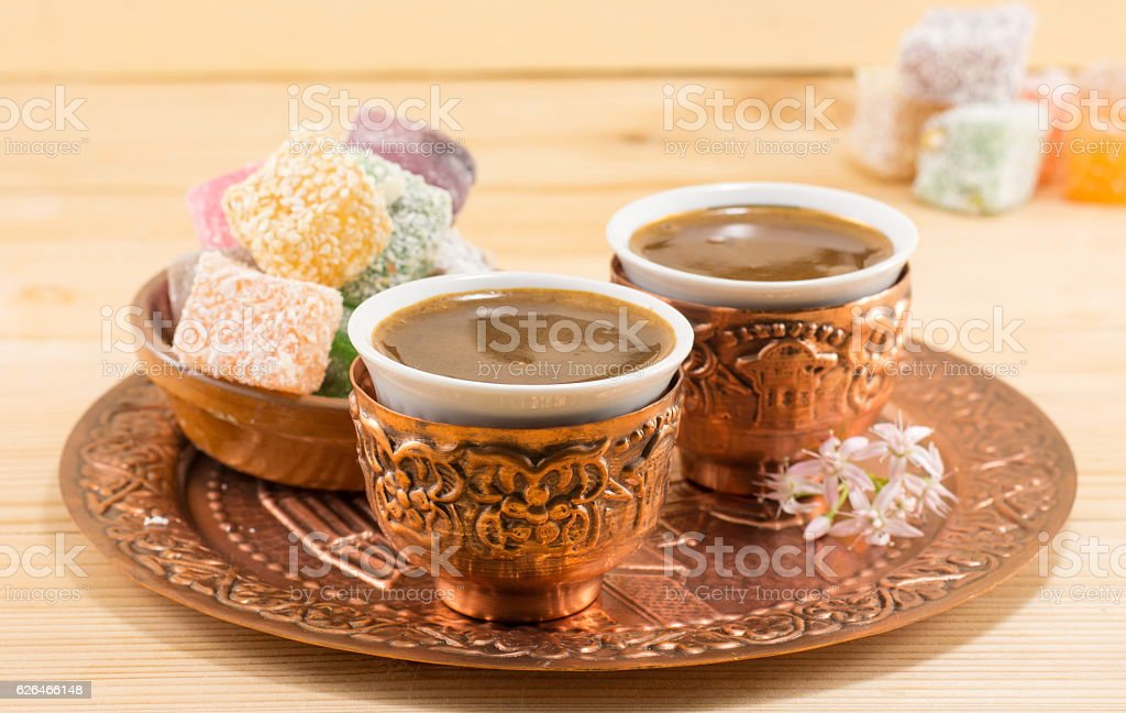 Coffee and Turkish delight in a copper cups stok fotoğrafı