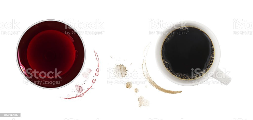 Coffee and wine stains royalty-free stock photo