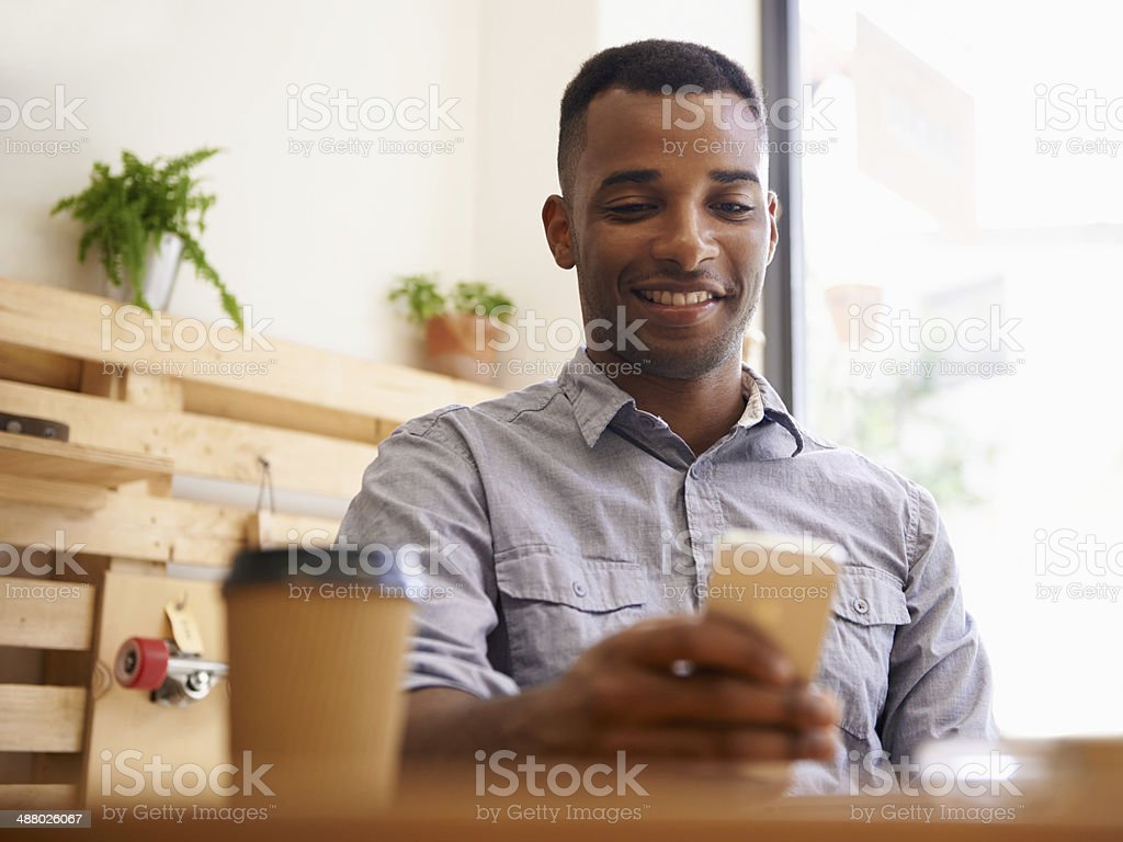 Coffee and wireless freedom stock photo