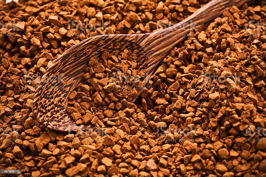 coffee and wooden spoon stock photo