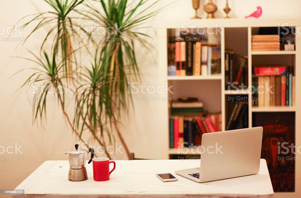 coffee and work stock photo