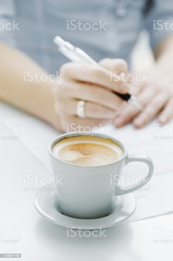 Coffee and writing royalty-free stock photo
