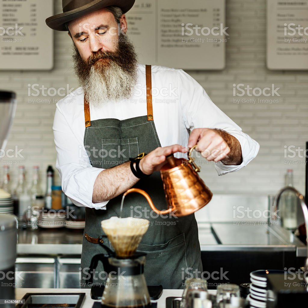 Coffee Apron Drip Brew Cafe Cafeteria Pouring Concept stock photo