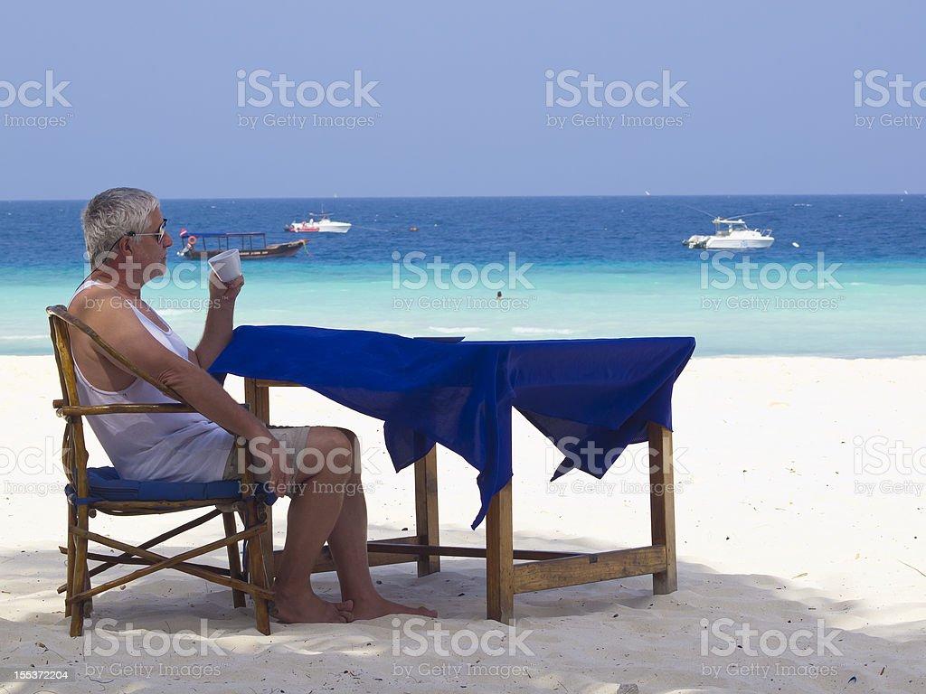Coffee at beach royalty-free stock photo