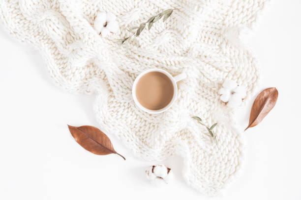 Café, automne, feuilles, tricot couverture. Vue plate Lapointe, top - Photo